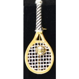 Racquet w/Ball Pin, Gold and Silver