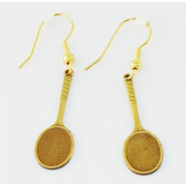Brass Racquet Earrings, Large