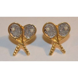 Cross Racquet Post Earrings