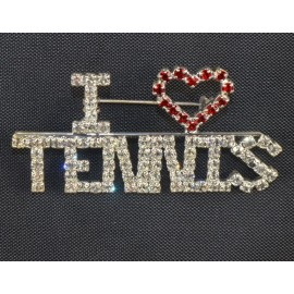 """I Heart Tennis"" Pin w/Crystals"
