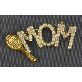 """Mom"" and Racquet Pin w/Crystals"
