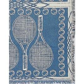 Tennis Afghan-Racquets/Balls Blue