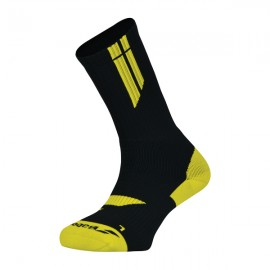 Babolat Men's Team Big Logo Socks - Black/Blazing Yellow (Size 9.5-11.5)