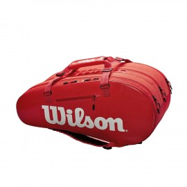 Wilson Super Tour 3 Compartment Infrared Tennis Bag - Red / White